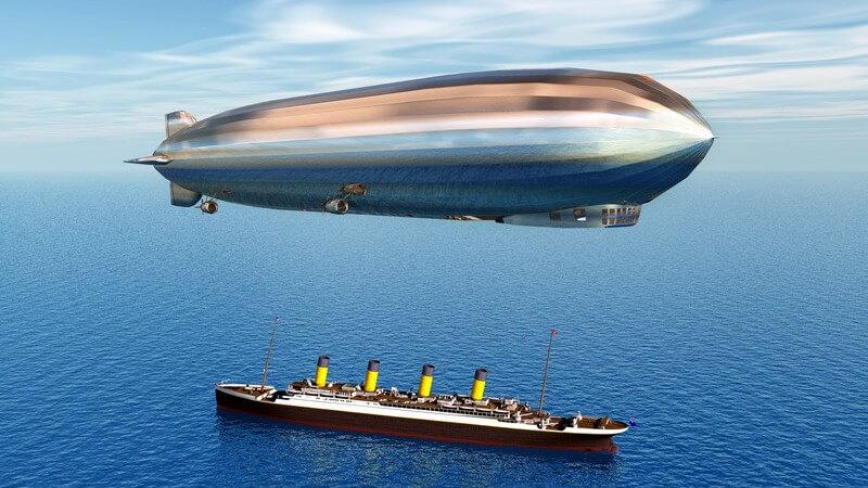 Ein Überblick über verschiedene Luftschiffarten - zu den berühmtesten Typen zählt der Zeppelin und darunter die Hindenburg