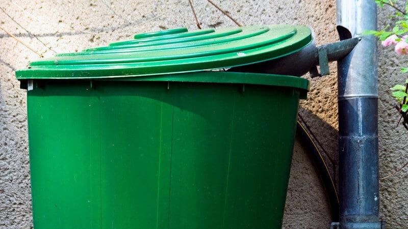 Wasserverbrauch sparen mithilfe einer Regentonne - Regentonnen gibt es mittlerweile auch in sehr dekorativer Optik, sodass sie sich sehr gut in das Gartenbild einfügen