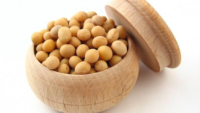 Getrocknete Sojabohnen muss man für mehrere Stunden, besser über Nacht, einweichen, bevor man sie kochen kann; man erhält auch Sojabohnenkeimlinge in der Dose