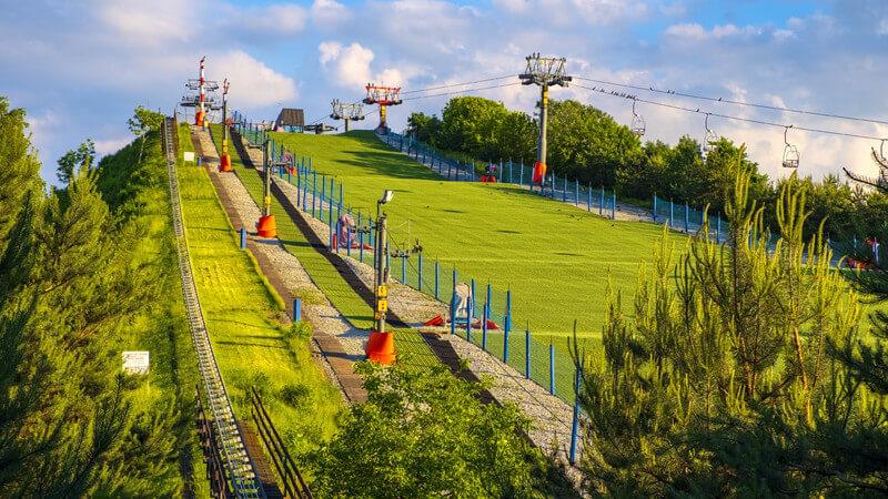 Für das Grasskifahren nutzt man spezielle Schienen, an denen sich Rollen befinden - die Bedeutung als eigenständige sportliche Disziplin wächst zunehmend