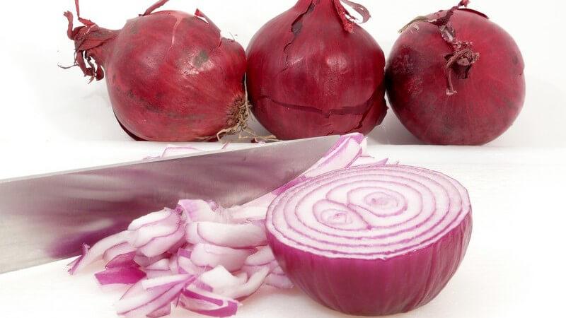 Schalotten eignen sich in roher Form bestens als Salatzutat; auch die jungen Blätter kann man hinzugeben