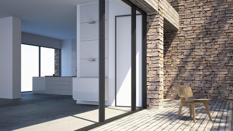 Das freistehende Haus kann die vereinfachte Form einer Villa sein, weniger repräsentativ denn praktisch