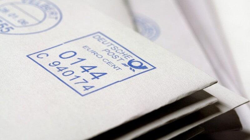Porto, Gewicht und Größe für Maxibriefe und Expressbriefe