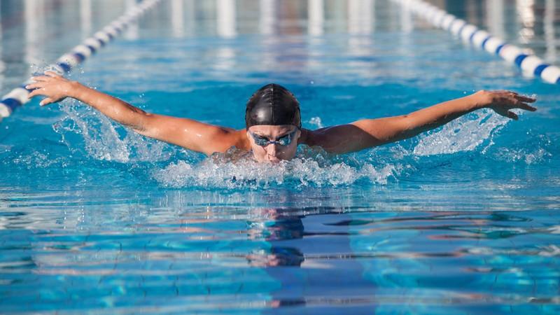 Schwimmer beim Delfin- oder Schmetterlingsschwimmen