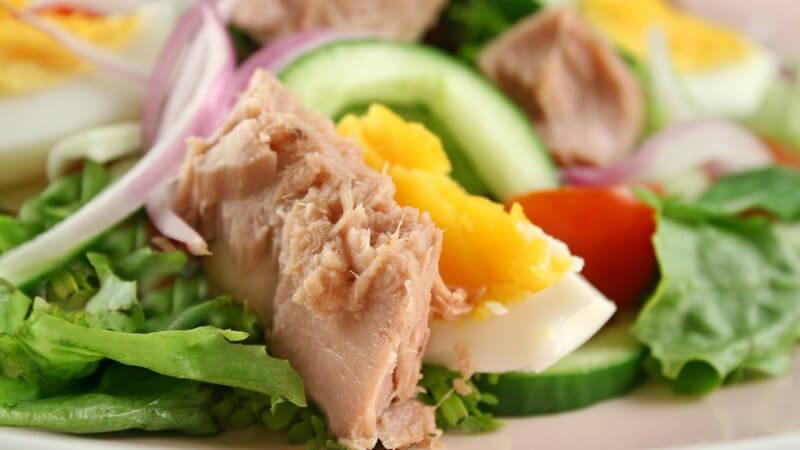 Meist wird Thunfisch in Form von Konserven angeboten - viele Arten sind jedoch überfischt und zudem kann es auch zu Schwermetallbelastungen kommen